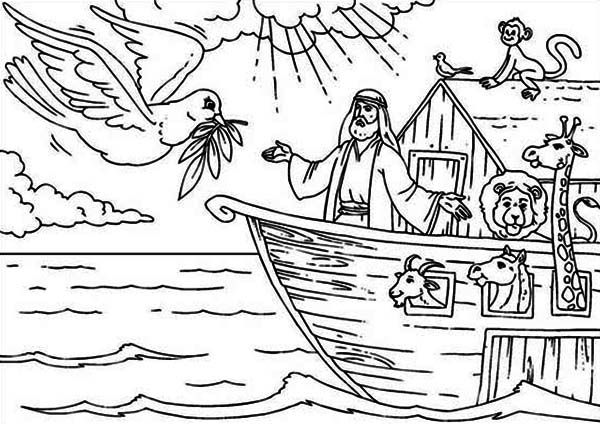 Noahs Ark, : Noah Welcoming the Pigeon That Found the Land