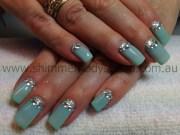 gel nails aqua glitter