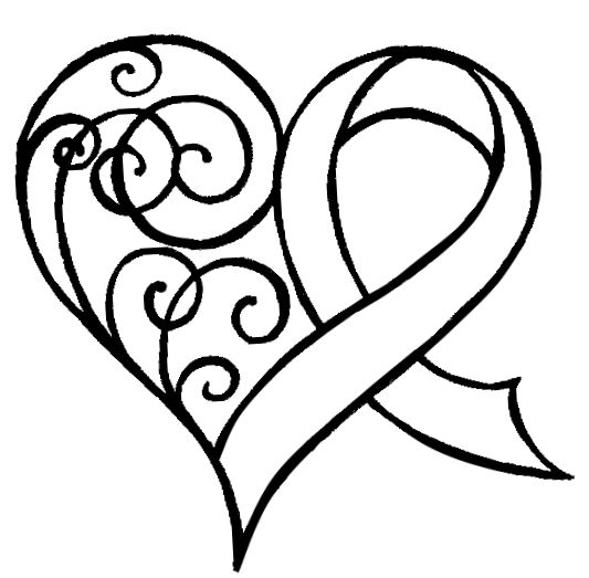 Cancer Ribbon Heart with Swirls Tattoo by ~Metacharis on