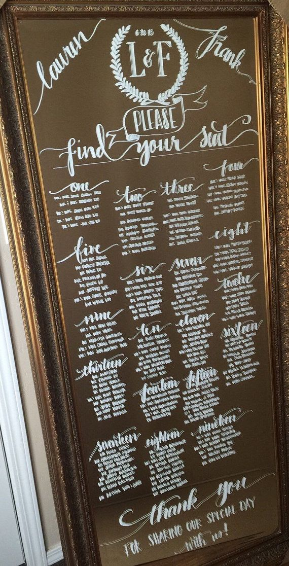 Custom Floor Length Leaning Mirror Seating Charts for Weddings by coastalcalligraphy Explore