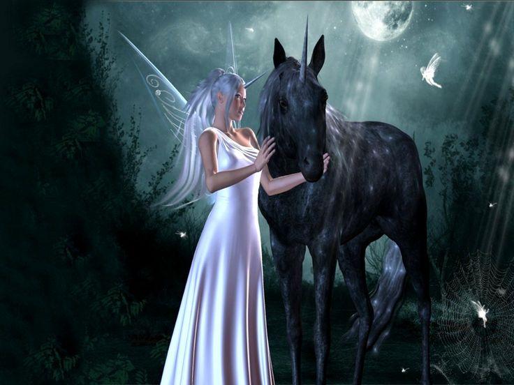 Sparkly Magical Girl Wallpaper White Fairies Fairy And The Unicorn Black Dress Fairy