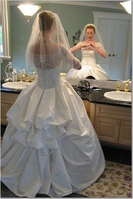 American Bustle Wedding Dress   for the bride design enhanced French bustle on wedding