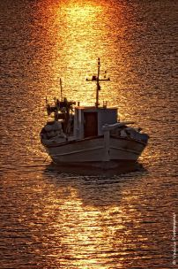 The golden path -A fishing boat at sunset time in the small port of Diapori - Lemnos Island - Greece. By Vasilis Protopapas trekearth.com