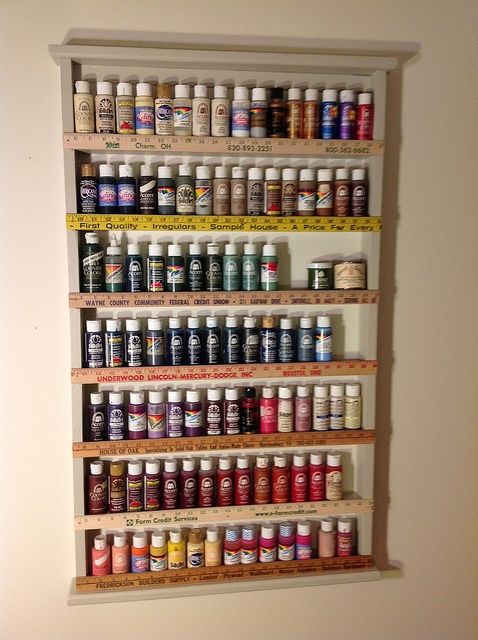 paint shelf made from wood and yardsticks repurposed from Habitat Restore  DIY  Pinterest