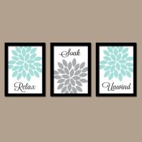 Bathroom Decor, Aqua Gray BATHROOM Wall Art, CANVAS or