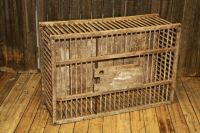 Vintage Primitive CHICKEN CRATE Wood Box wooden cage coop ...