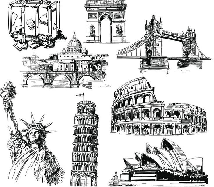 Set of 8 vector hand drawn landmark sketches of different