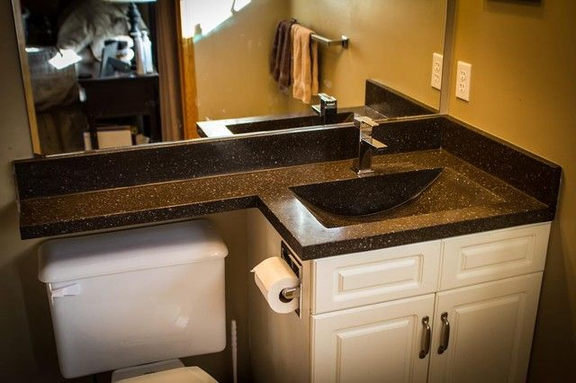 remodeling small kitchen grohe faucet parts bathroom vanity top extended over toilet | ideas ...