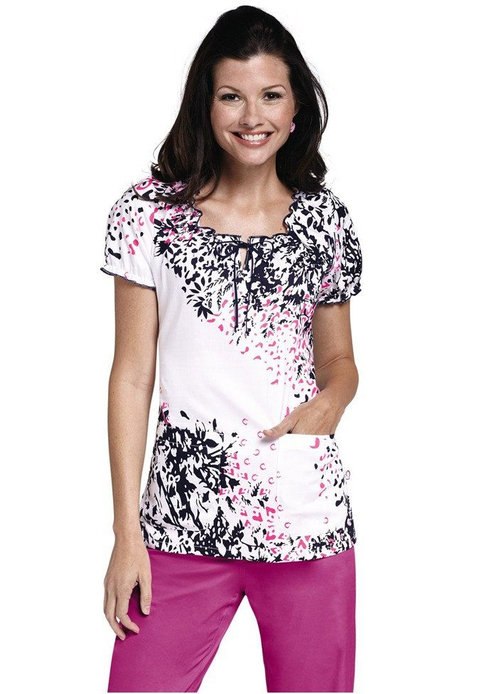 Med Couture Suzie Different Strokes Print Scrub Top
