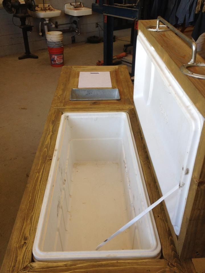 Large Outdoor Wooden Ice Chest with built in tray and