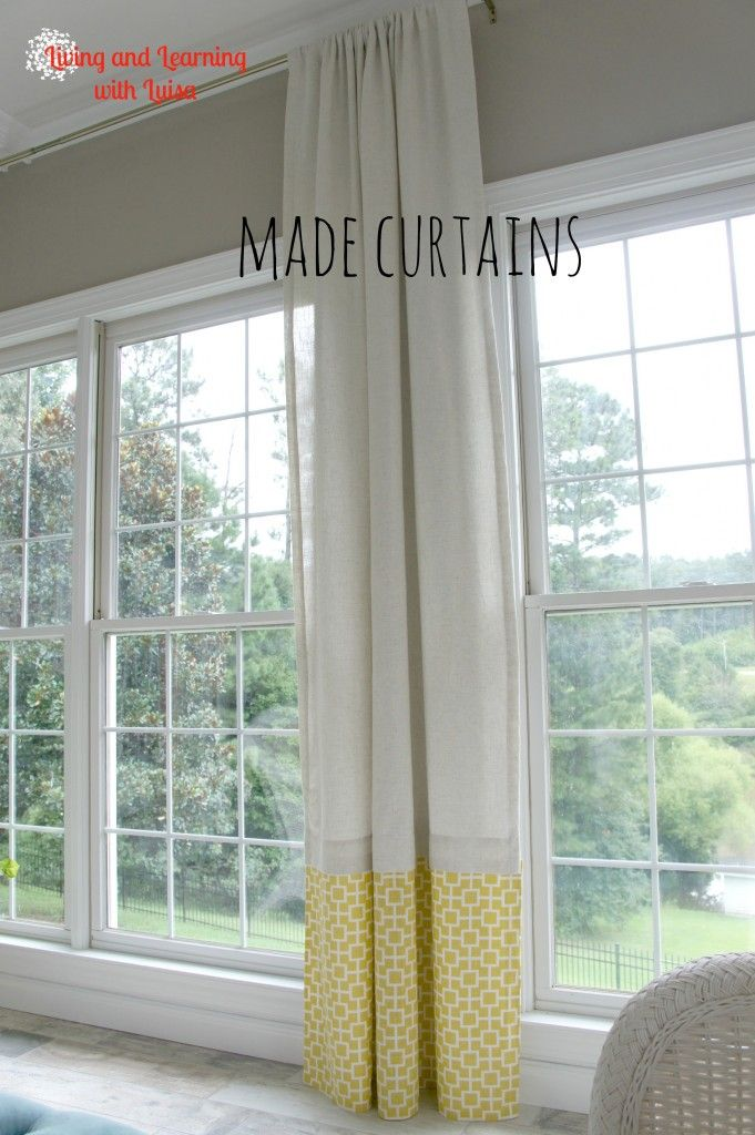 how to design curtains for living room best paint colors small rooms no-sew with added piece at bottom- wall colour ...