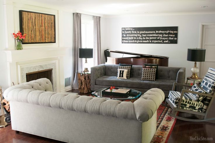 Don't be neutral on the subject of color. Gray living room with a two sofa layout. Two sofas facing ...