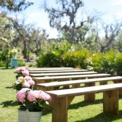 Beach Chairs For Cheap Fishing Fighting Chair Parts This Outdoor Ceremony Keeps Things Simple And Chic With Wooden Benches Seating ...