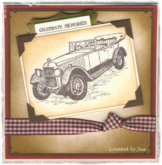 Handmade Card Men's Travel Theme Vintage Car #100034