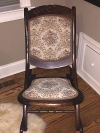 Antique Folding Rocking Chair Armless w/ Victorian Floral ...