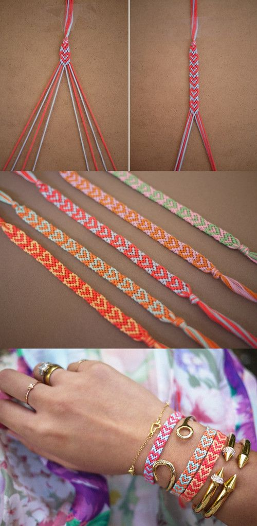 DIY Heart Friendship Bracelet Tutorial – cute I used to LOVE making these :)