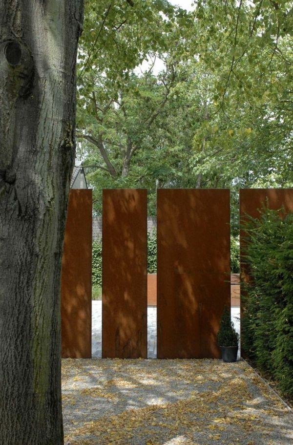 sichtschutz stelen mit rostplatten best ideas about sichtschutz ... - Gartengestaltung Ideensichtschutz Metall