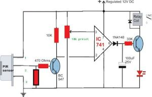 Simple Circuit Diagram using PIR Sensor (PIR = SENZOR