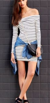 Striped dress and black strappy heels