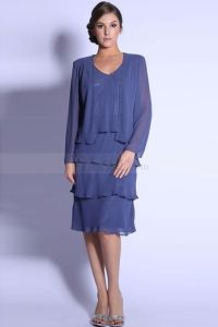 Knee-length Mother of the Bride Dress with Cropped Jacket ...