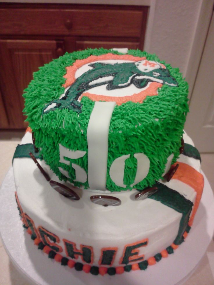 miami dolphins 50th birthday cake
