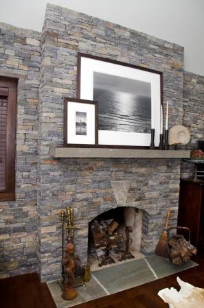Interior Fireplace Wall Keystone Thin Ledge Stone