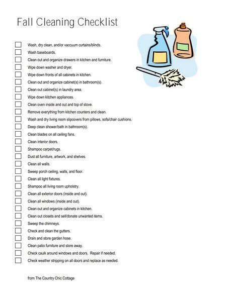 17 Best ideas about Fall Cleaning Checklist on Pinterest