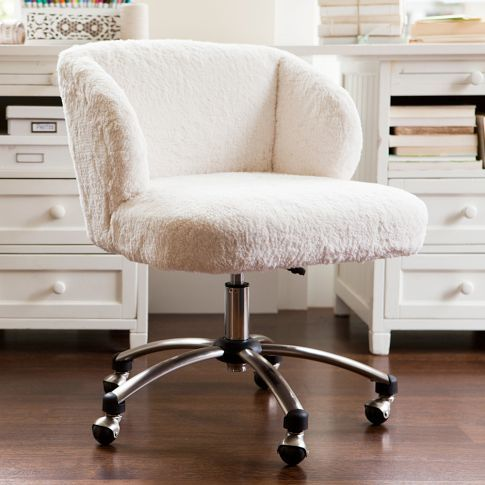 White fur swivel desk chair So chic practical and comfy