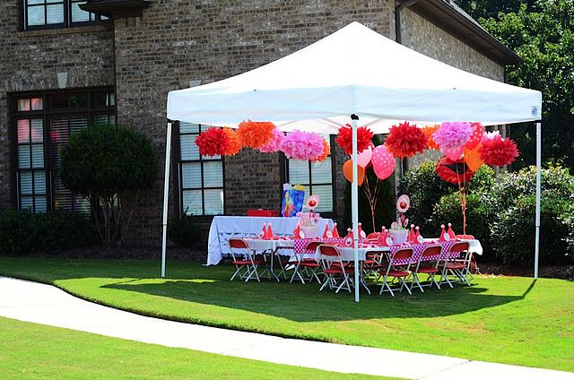 Love the pom poms hanging from the tent  Parties showers and more  Pinterest  Birthdays