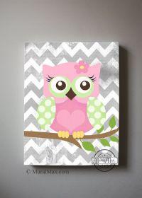 "Girls wall art - OWL canvas art, Baby Nursery Owl 10""x 12 ..."