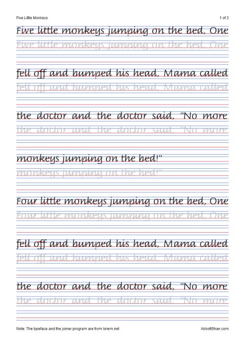 Five Little Monkeys Italic Handwriting Worksheets You
