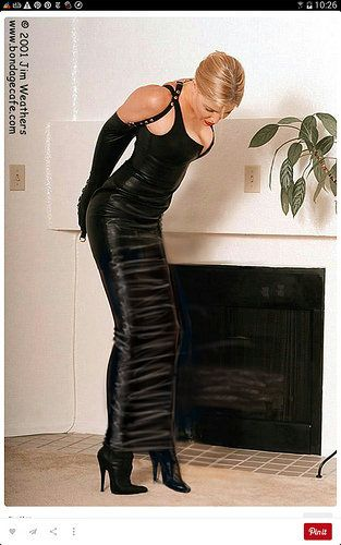 Black leather armbinder and hobble skirt Photo Jim