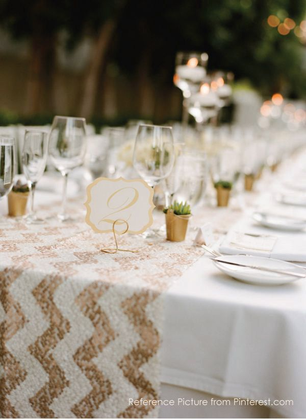 Sequin Table Runner Sparkly Chevron White  Rose Gold