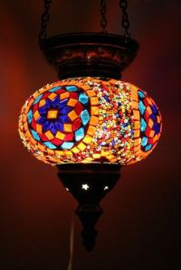 Large Turkish Moroccan mosaic hanging lamp pendant lantern ...