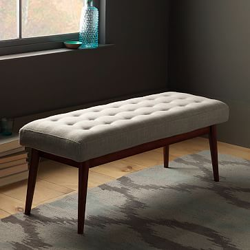tufted sofa velvet reupholstery cost toronto mid century upholstered bench, cayenne, heathered weave ...