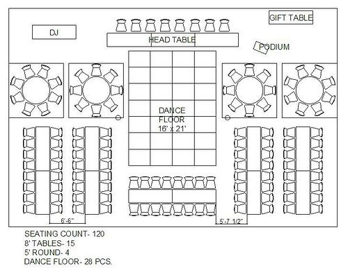 rectangle and circle wedding reception floor plan. maybe