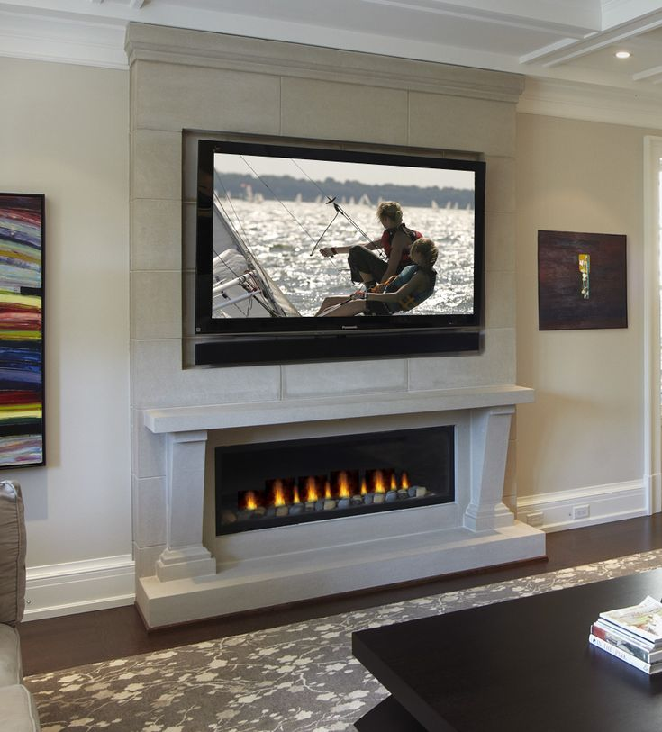 Linear fireplace unit surrounded by Omegas Cast Stone  Omegas Fireplaces  Pinterest