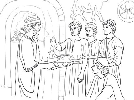 Daniel and his friends refuse the king's food (Daniel 1