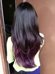 plum ombre long hair