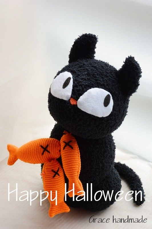 Grace228 sock black cat craft DIY  My sock dolls