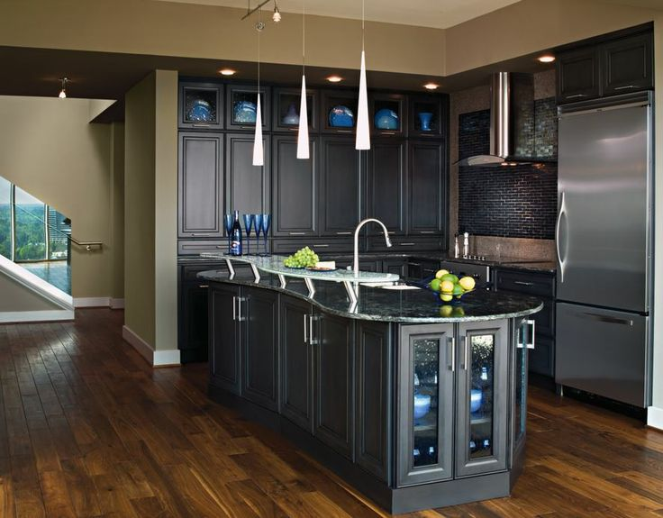 transitional kitchen with gunmetal blue cabinets by
