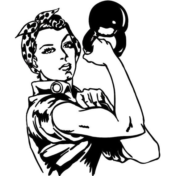 Kettlebell Woman Decal Sticker FREE USA SHIPPING