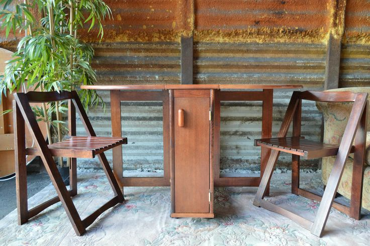 high table chair set kids wood adirondack drop leaf gate leg 4 folding chairs stored inside the | and ...