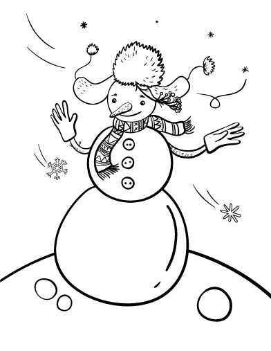 Printable snowman coloring page. Free PDF download at http