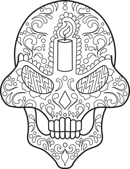 66 best images about Sugar Skull Coloring Pages on Pinterest