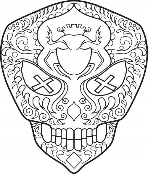 104 best images about Day of the Dead Coloring on Pinterest