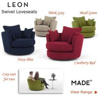 Wide Fabric Loveseats Round Swivel Chairs Green Red Blue ...