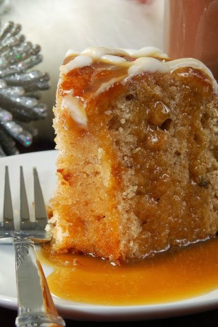 Apple Harvest Pound Cake with Caramel Glaze – so moist and so delicious! Its the perfect fall dessert,,