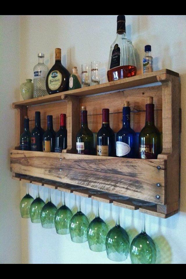 Pallet Wine Rack  Pallet ideas  Pinterest  Wine racks