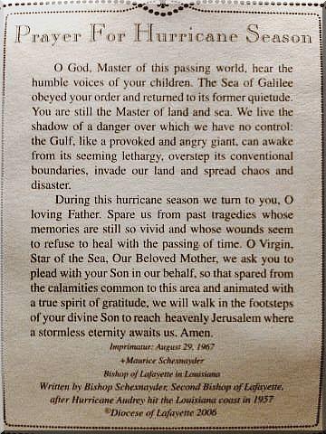 Prayer For Hurricane Season June Through November